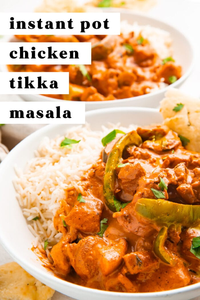 Pin graphic for Instant Pot chicken tikka masala