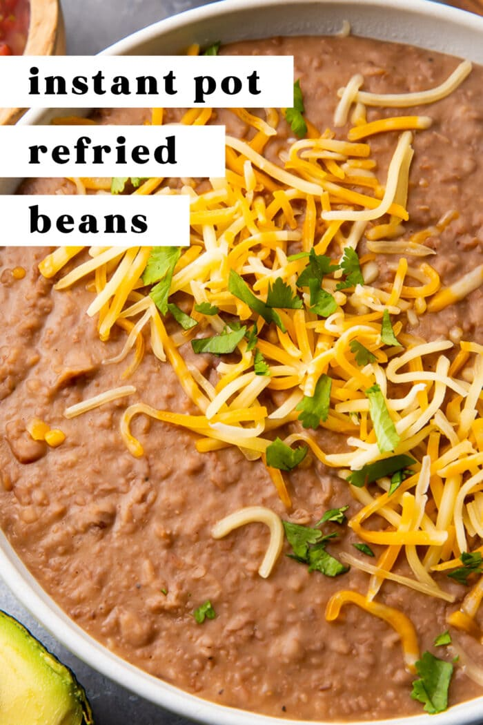Pin graphic for Instant Pot refried beans