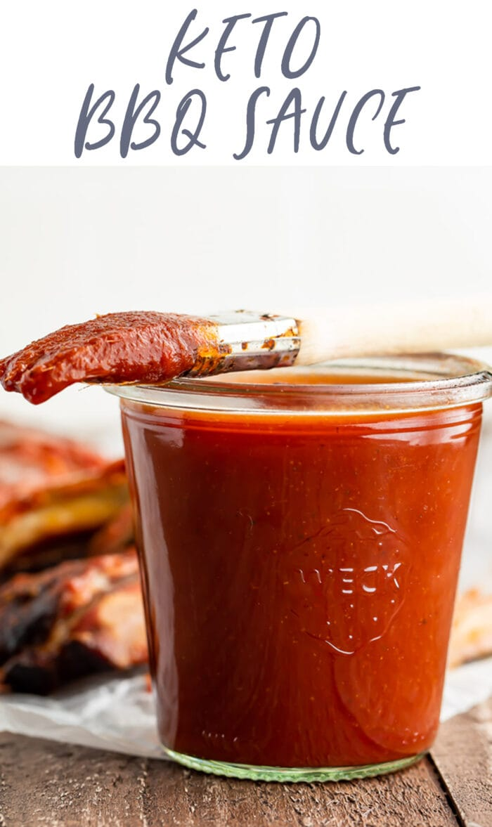 Pin graphic for keto bbq sauce
