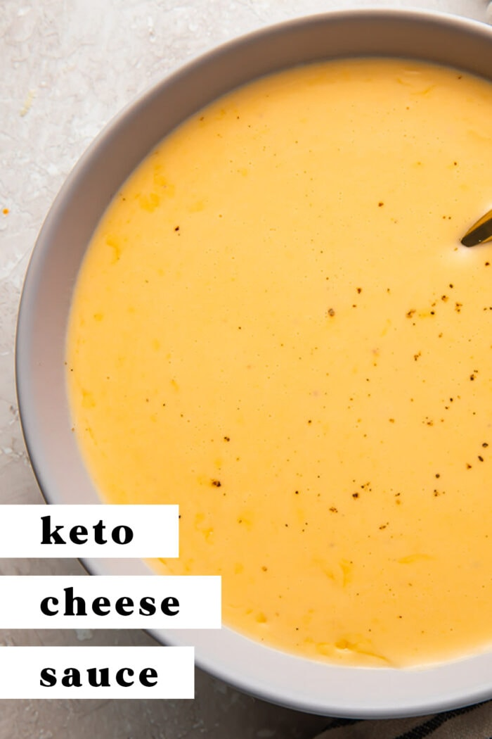 Pin graphic for keto cheese sauce