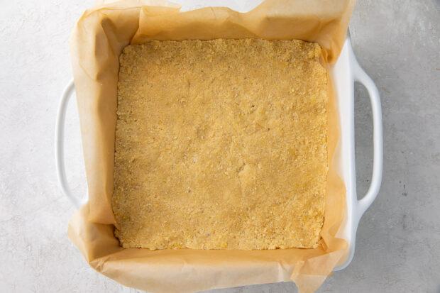 Lemon bar crust in a baking dish