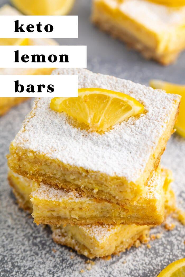 Pin graphic for keto lemon bars