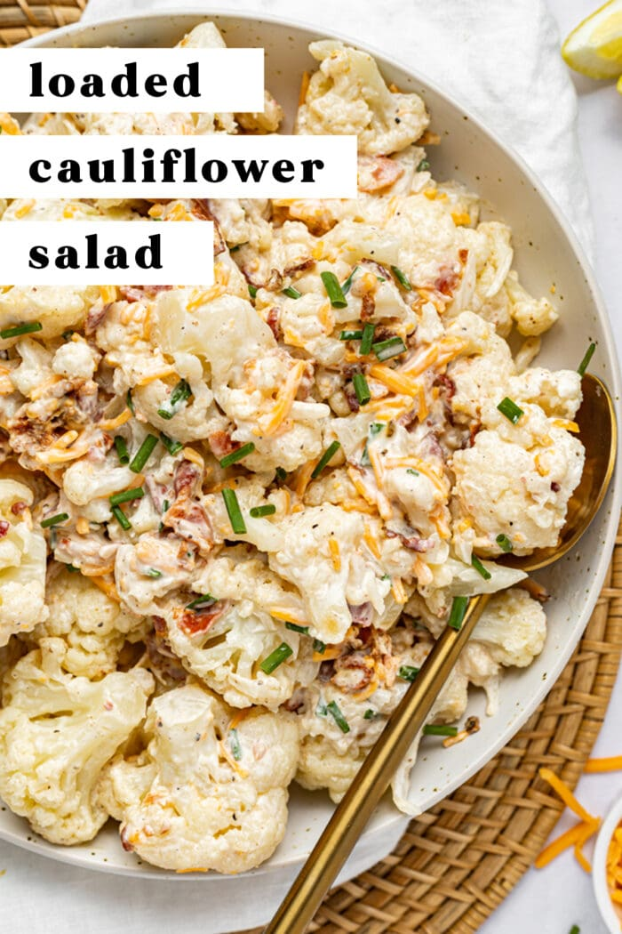 Pin graphic for loaded cauliflower salad