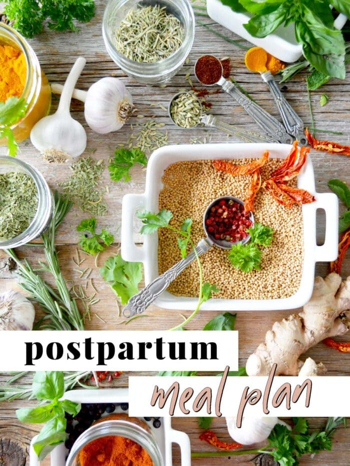 Graphic for postpartum meal plan