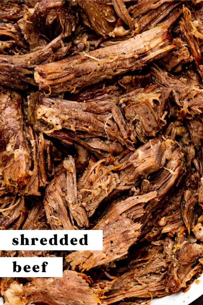 Pin graphic for shredded beef
