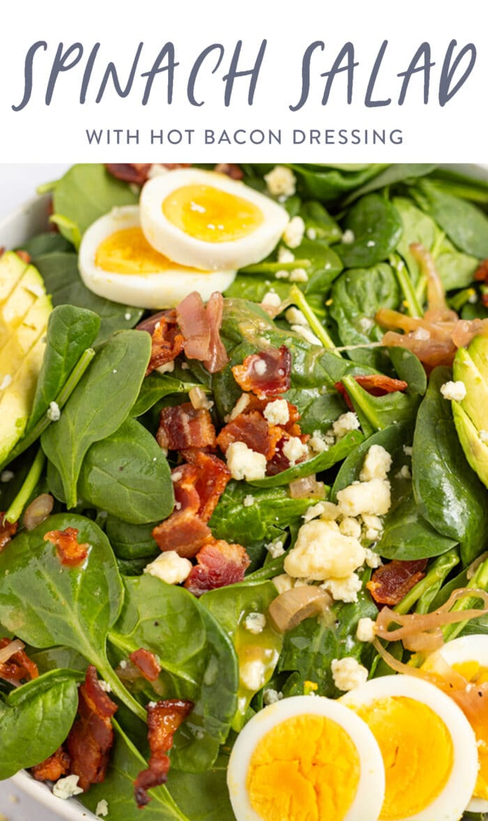 Pin graphic for spinach salad with hot bacon dressing