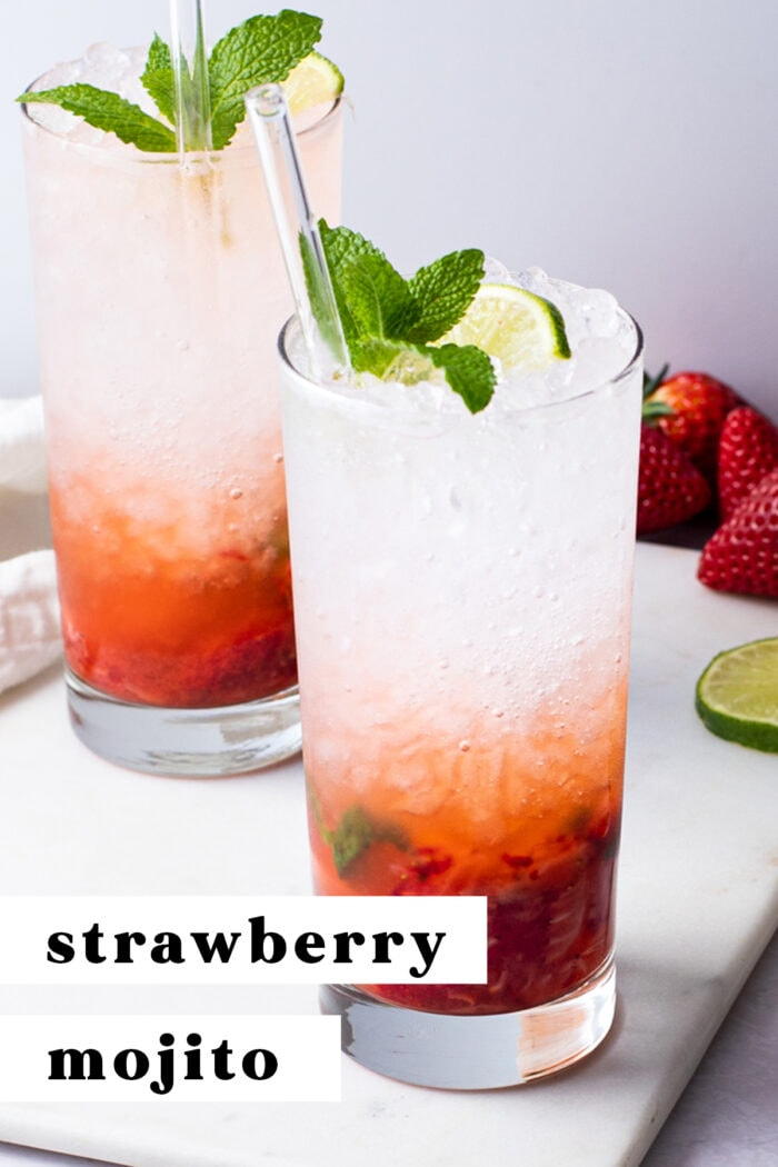 Pin graphic for strawberry mojito