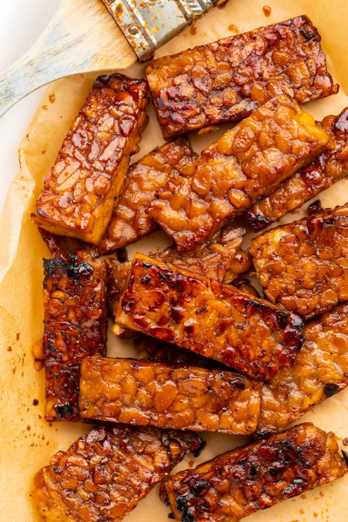Tempeh bacon on parchment paper