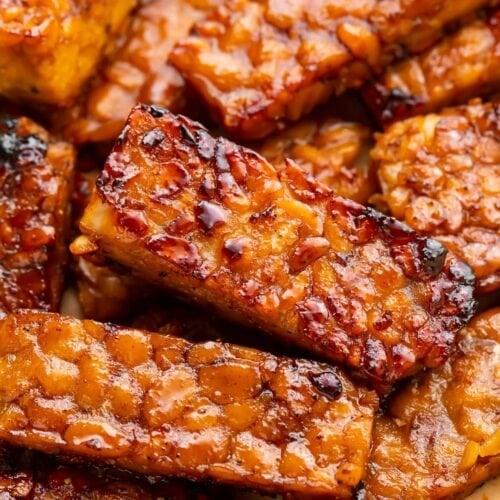 Tempeh bacon strips close-up