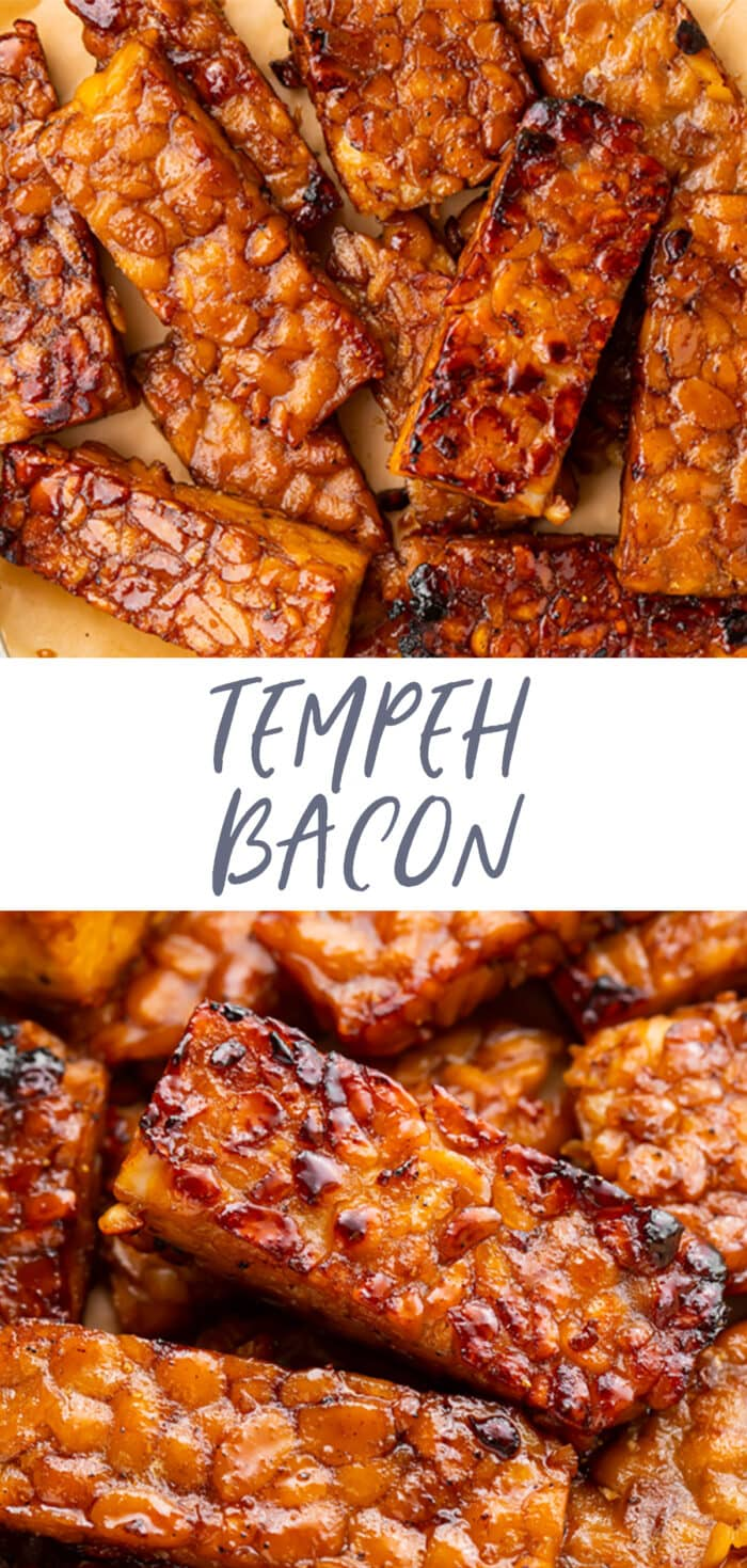 Pin graphic for tempeh bacon