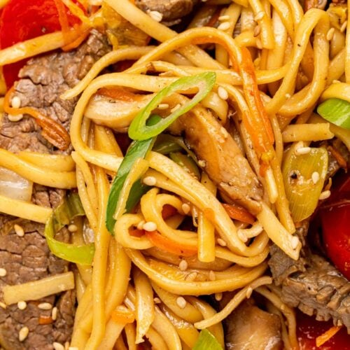 close up image of beef lo mein with green onion and sesame seeds