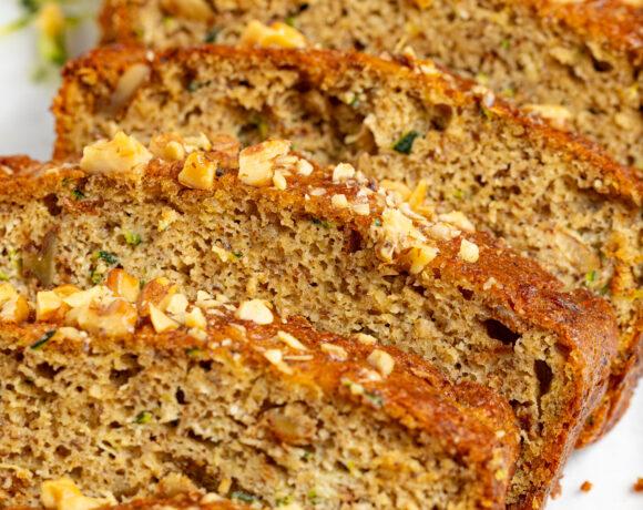 close up image of sliced keto zucchini bread