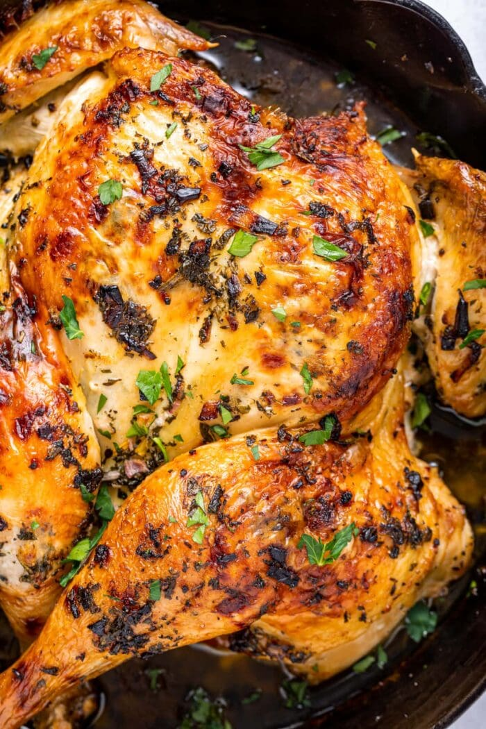 Spatchcock chicken in a cast iron pan, sprinkled with fresh parsley.