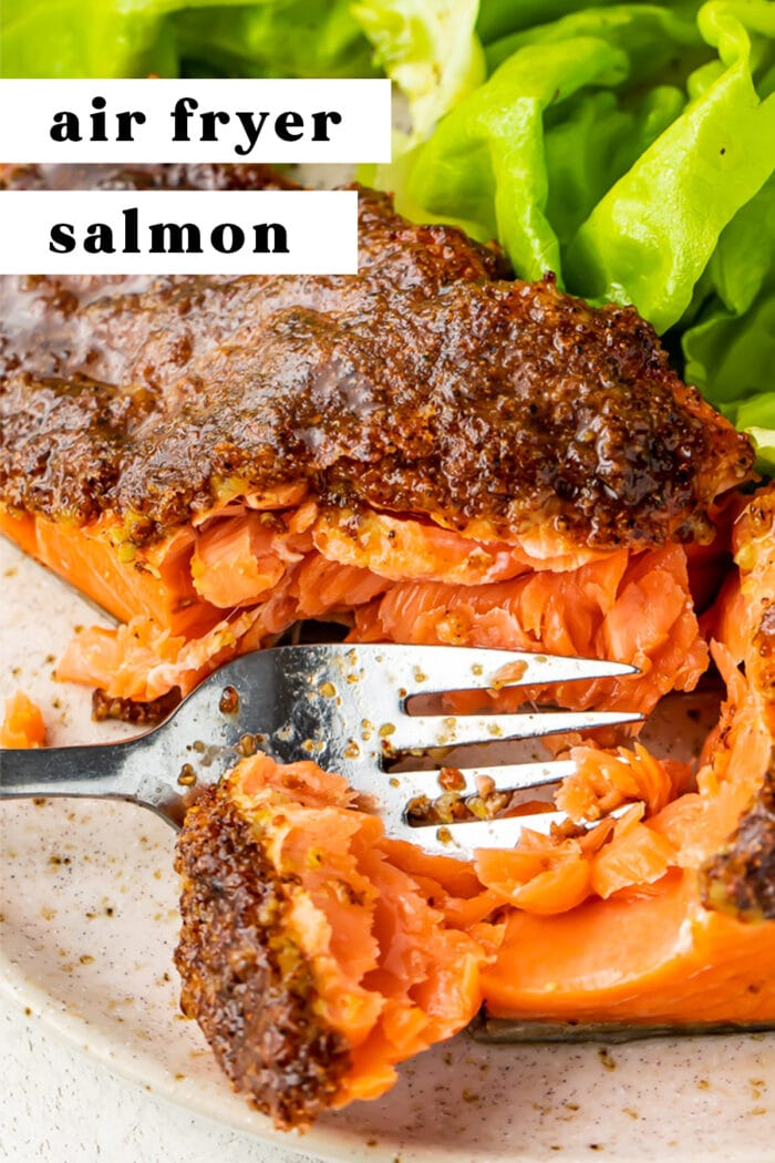Pin graphic for air fryer salmon