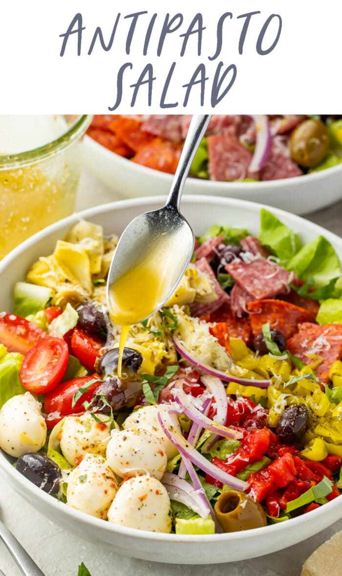 Pin graphic for antipasto salad