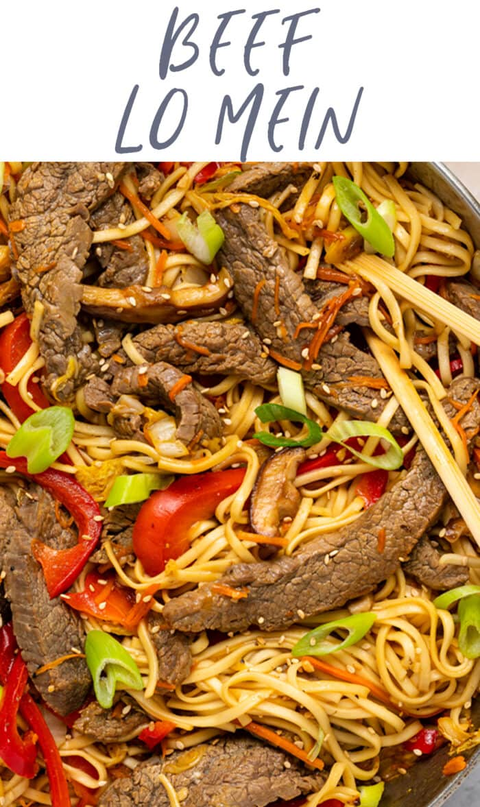 Pin graphic for beef lo mein