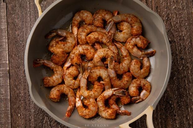 Blackened shrimp in skillet