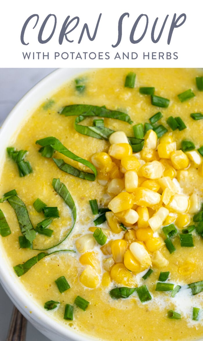 Pin graphic for corn soup