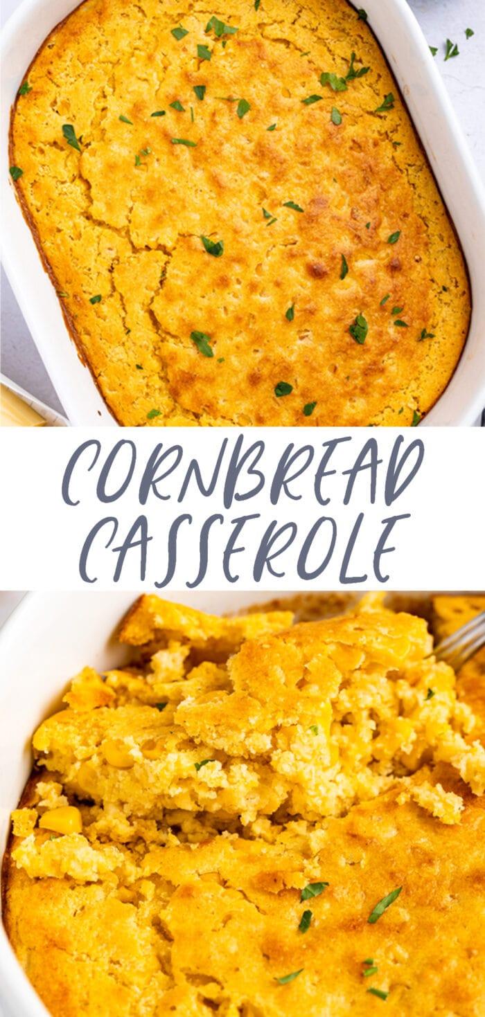 Pin graphic for cornbread casserole