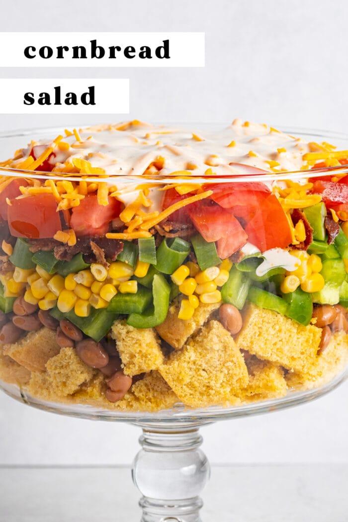 Pin graphic for cornbread salad