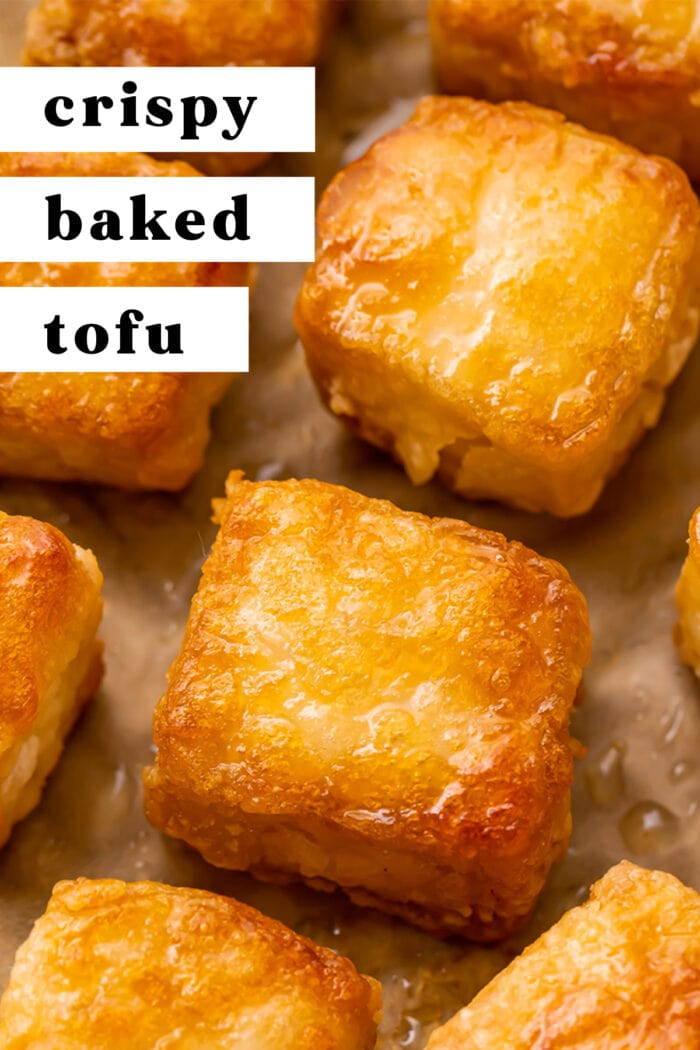 Pin graphic for crispy baked tofu