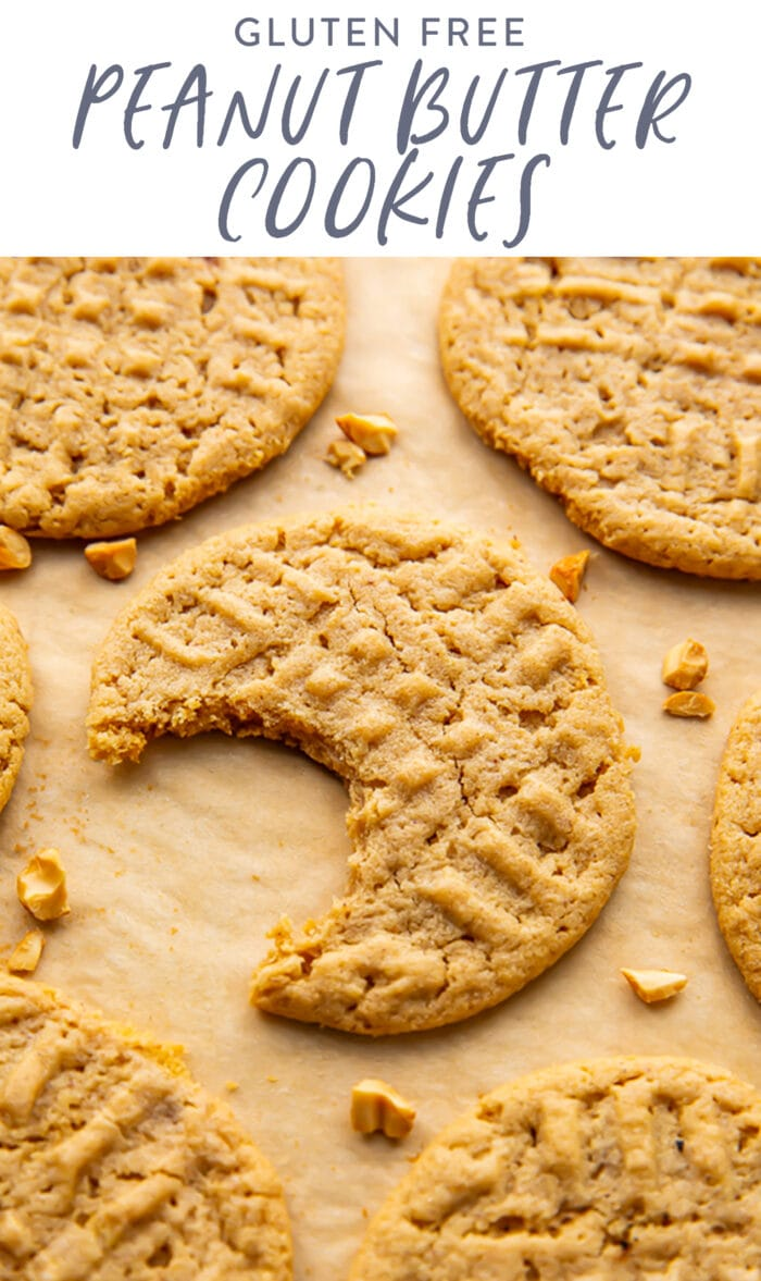 Pin graphic for gluten free peanut butter cookies