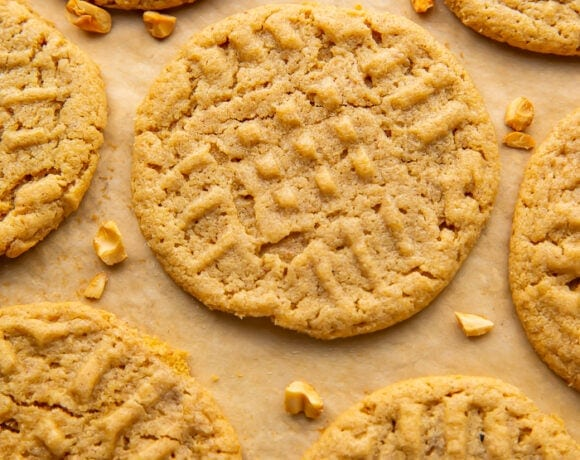 Overhead view of gluten free peanut butter cookies on parchment paper