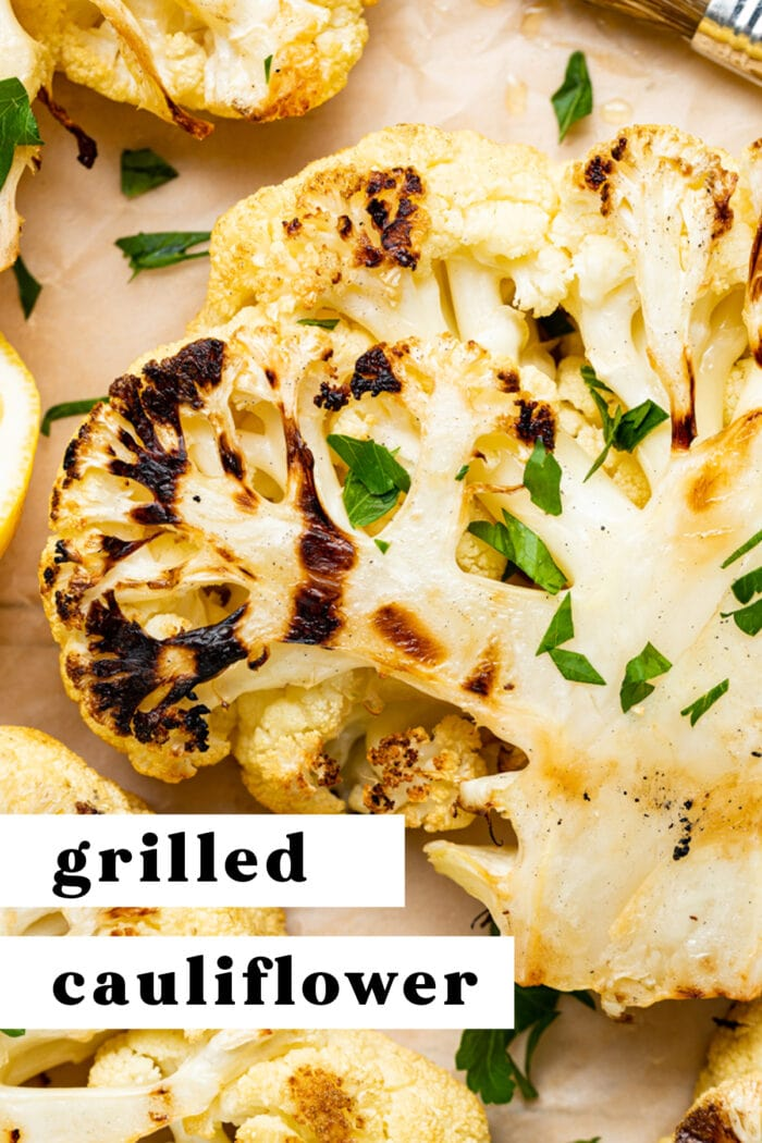 Pin graphic for grilled cauliflower