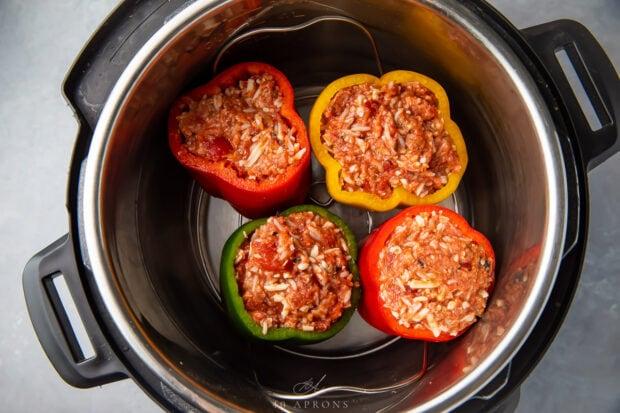 Stuffed peppers inside in Instant Pot