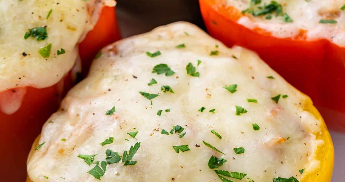 Instant pot stuffed peppers in aa white serving tray