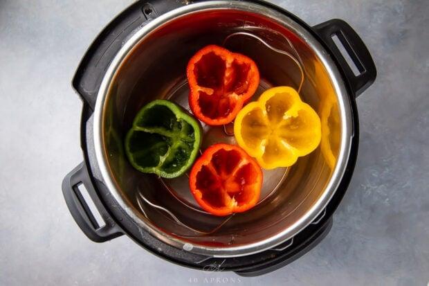 Empty bell peppers inside an Instant Pot