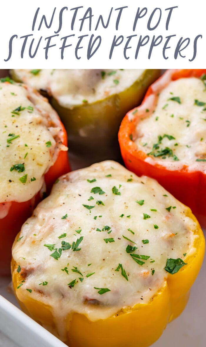 Pin graphic for Instant Pot stuffed peppers
