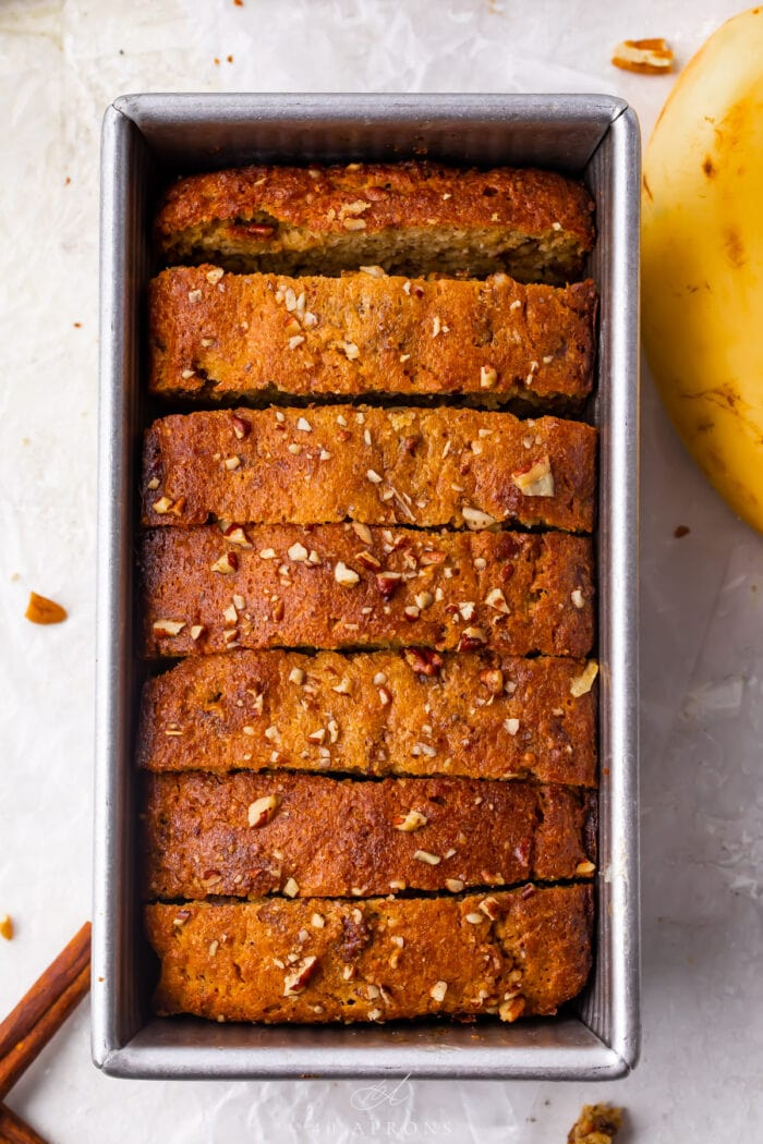 Keto banana bread slices in a loaf pan