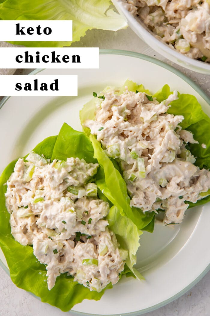 Pin graphic for keto chicken salad