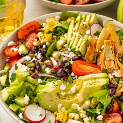 Closeup angle of Mexican salad with slices of avocado, tomatoes, tortilla strips, and onion in a white bowl
