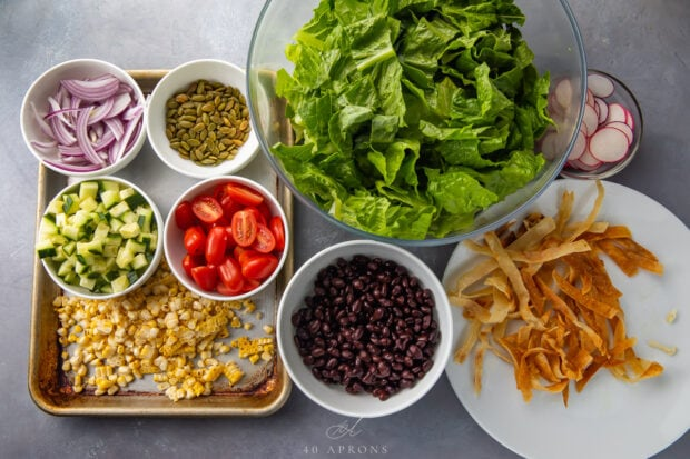 Ingredients for Mexican Salad in individual containers