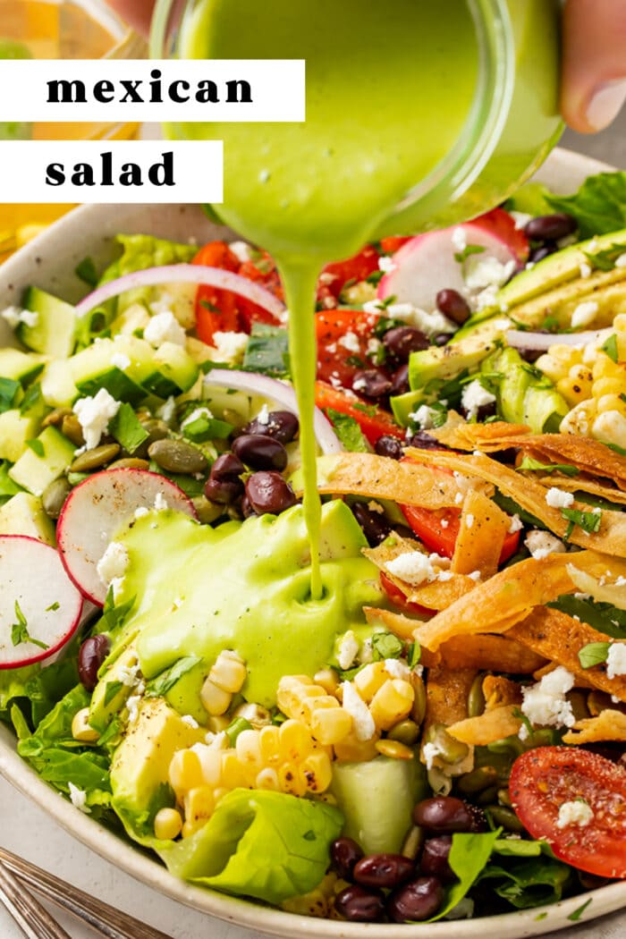 Pin graphic for Mexican salad