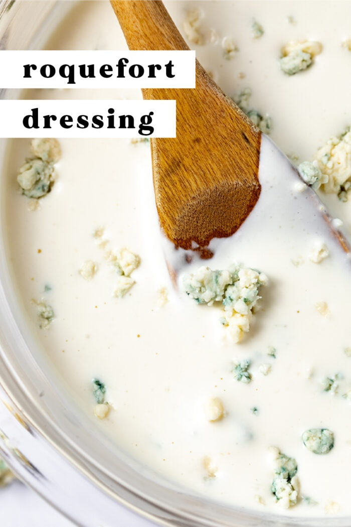 Pin graphic for roquefort dressing