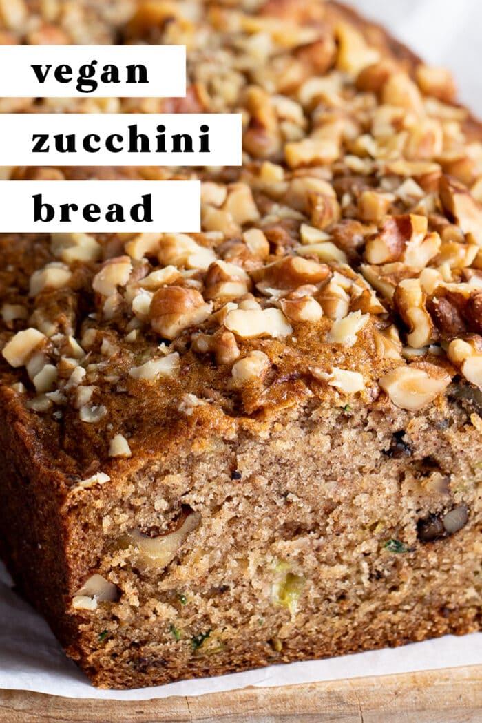 Pin graphic for vegan zucchini bread