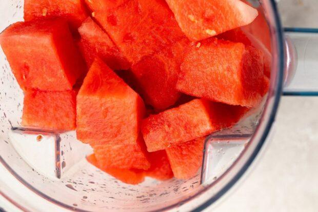 Watermelon chunks in a blender