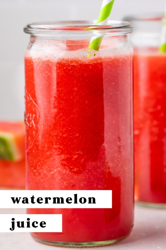 Pin graphic for watermelon juice