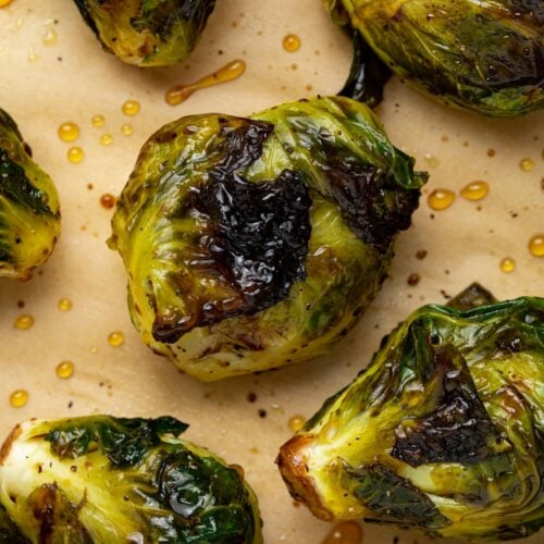 close up image of grilled brussels sprouts
