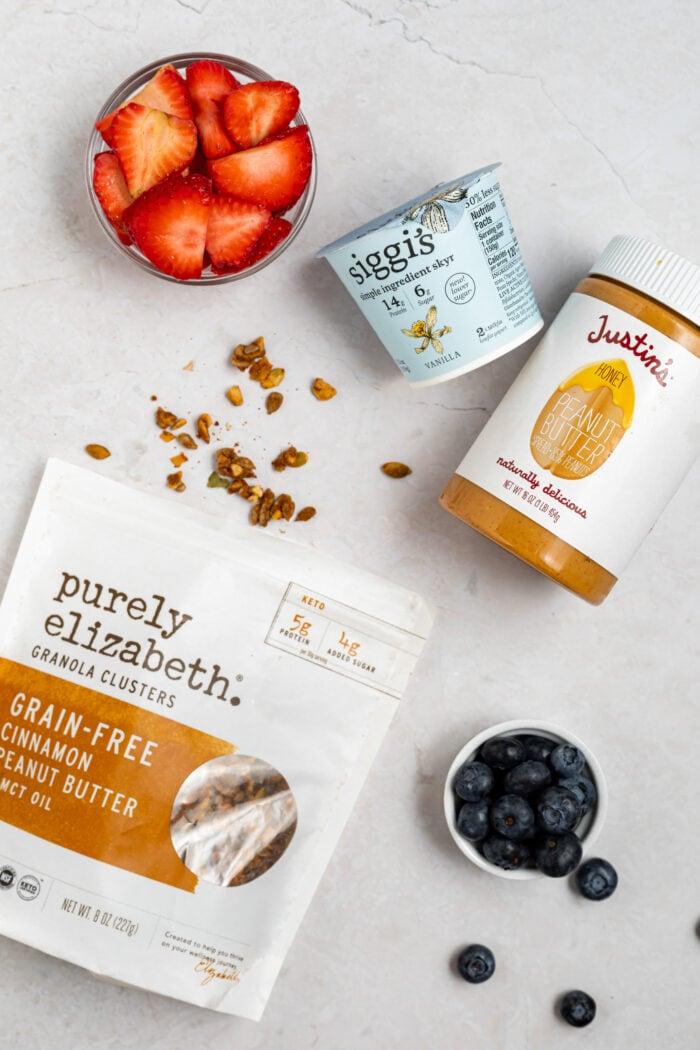 images of products used in peanut butter frozen yogurt bark