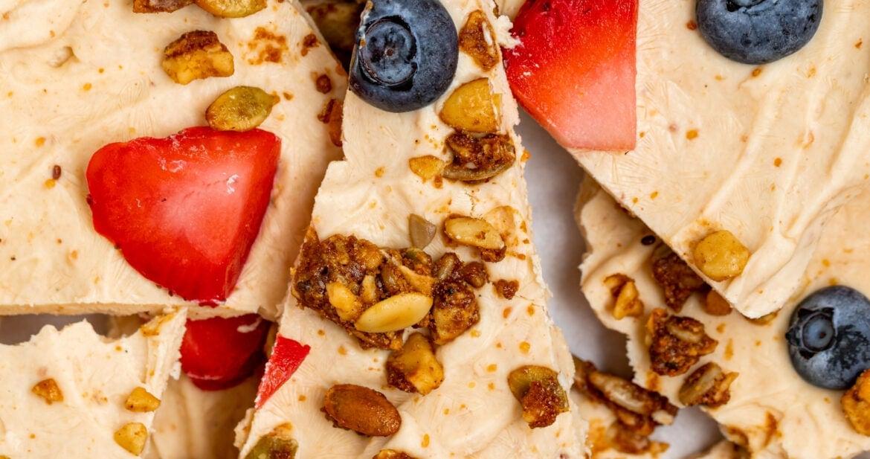 close up image of peanut butter frozen yogurt bark