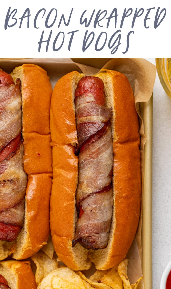 Pin graphic for bacon wrapped hot dogs