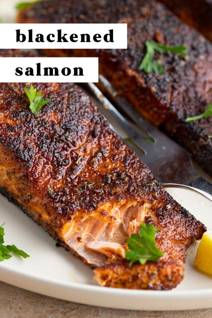 Pin graphic for blackened salmon