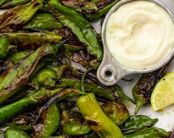 Blistered shishito peppers on a plate with a lemon-garlic aioli sauce