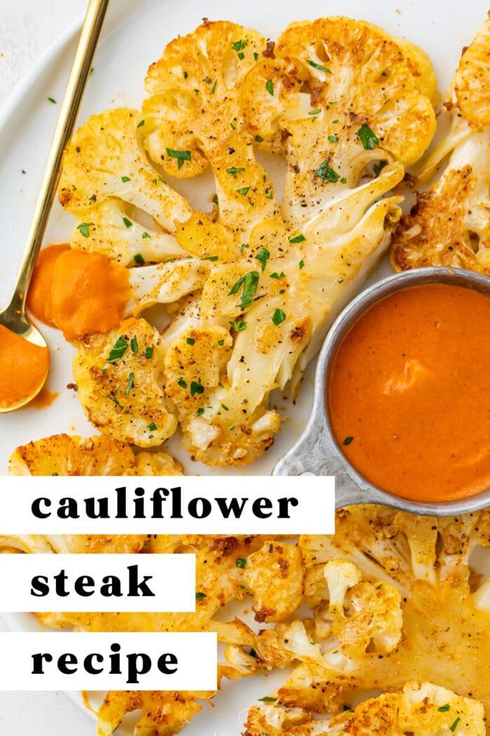 Pin graphic for cauliflower steaks
