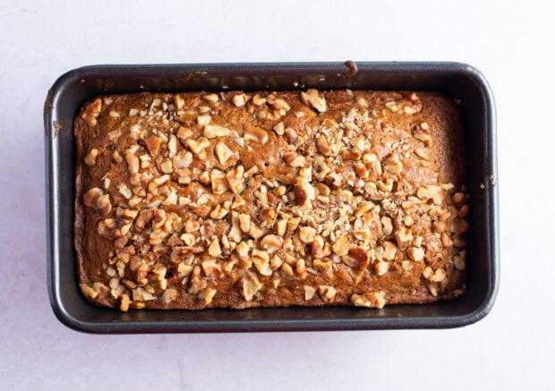 Baked gluten free zucchini bread in loaf pan