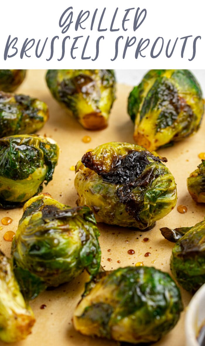 Pin graphic for grilled Brussels sprouts